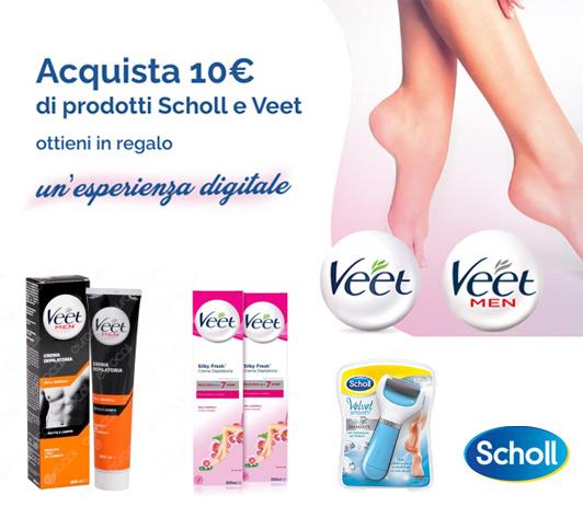 Acquista 10e di prodotti Veet e scholl e ricevi un premio sicuro