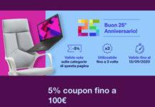 Ebay 5% di sconto su tanti prodotti