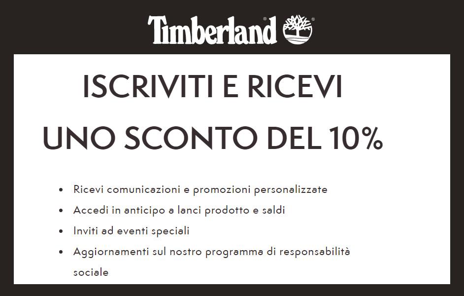 Timberland iscriviti alla newsletter e ricevi uno sconto del 10% immediato