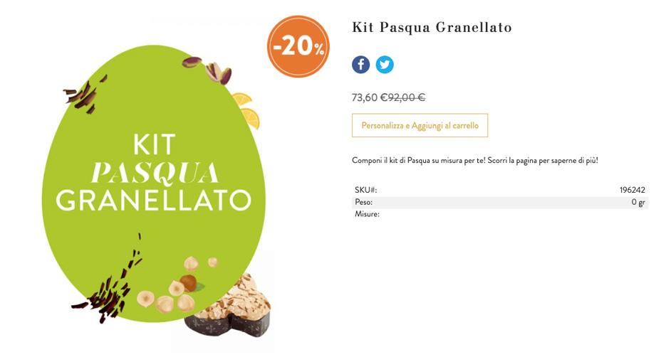 Cioccolato venchi - Kit Pasqua Granellato