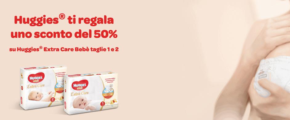 Huggies Pannolini Extra Care Bebe scontati del 50%
