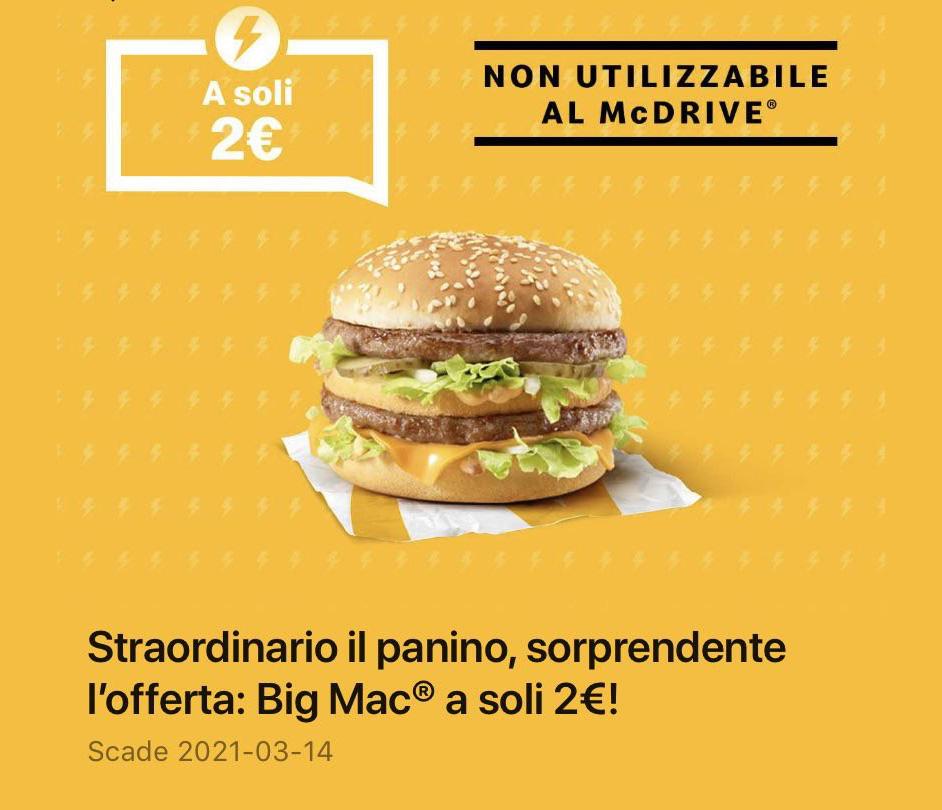 McDonald's Offerta Flash Big Mac a soli 2 euro