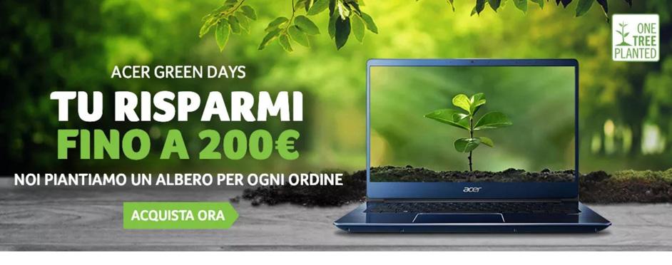Acer Italia con i Green Days risparmi fino a 500€