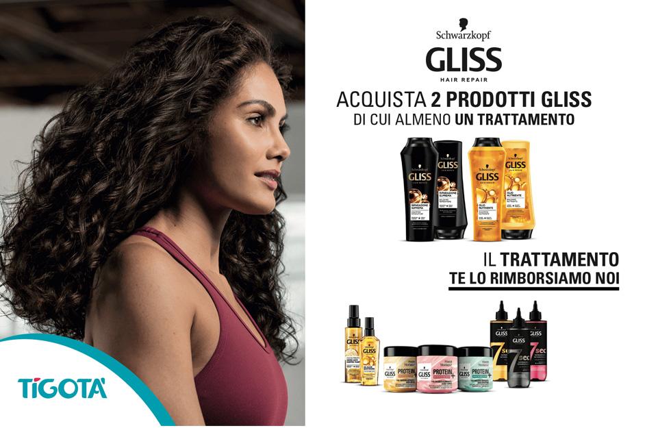 tigota acquista 2 Prodotti della linea Gliss e Ricevi 5€ di cashback