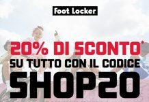 Foot Locker 20% di sconto su tutto il catalogo